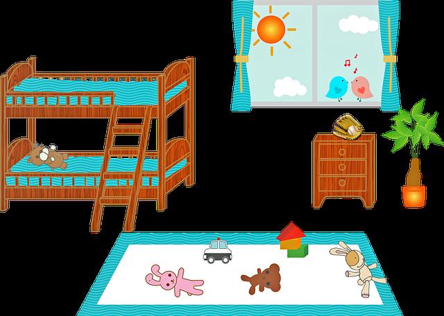 patrové postele v dětském pokoji